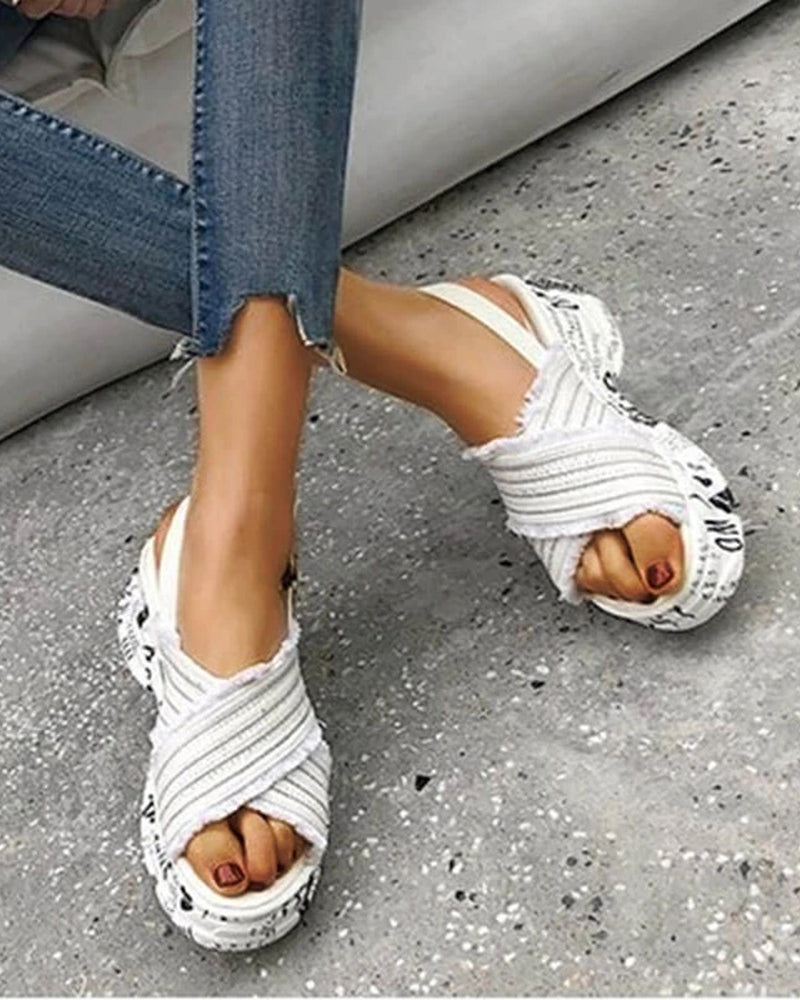 Vieley Slingback Elastic Platform Buckled Sandals