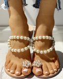 Vieley Pearl Ring Toe Flip Flops  Pearl Strap Emblished Slides