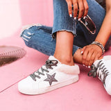 Vieley Womens Lace Up Fuzz Trim Star Pattern Sneakers