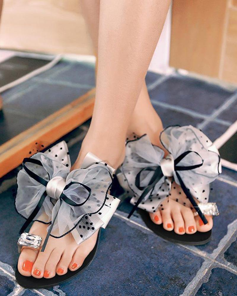 Vieley Women's Rhinestone Toe Ring Flip Flops Slip-On Big Bowknot Sandals