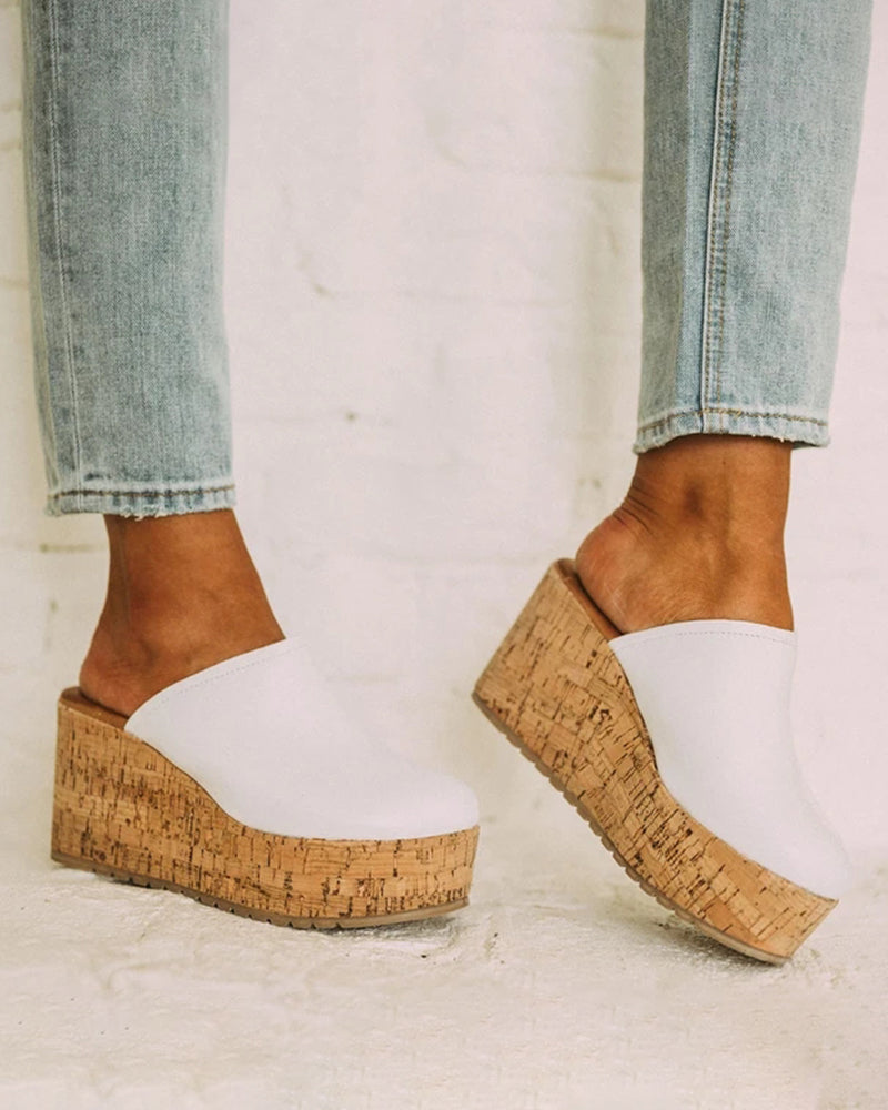 Vieley Espadrille Platform Sandals Slip-on Wedges