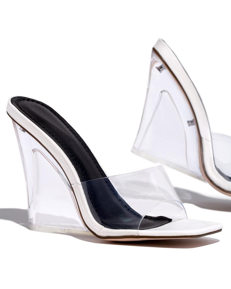 Vieley Slip on Square Toe Transparent Band Clear Wedge Snadals