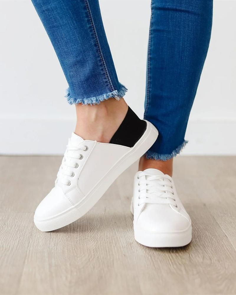 Vieley Lace-up Canvas Adjustable Slip on Mule Flat Sneakers