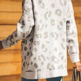 Leopard Cardigan Casual Open Front Knitted Warm Sweater
