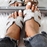 Vieley Sequins Embellished Sandals Flat Cork Slides