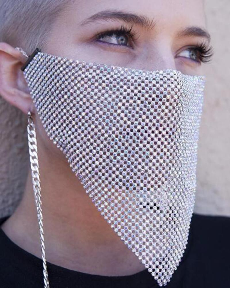 Vieley Shinny Rhinestone Breathable Hollow-out Design Fashion Masks
