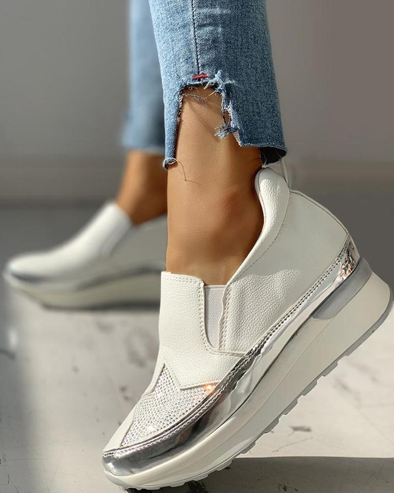 Vieley Rhinestone Embellished Star Slip-on Laceless Sneakers