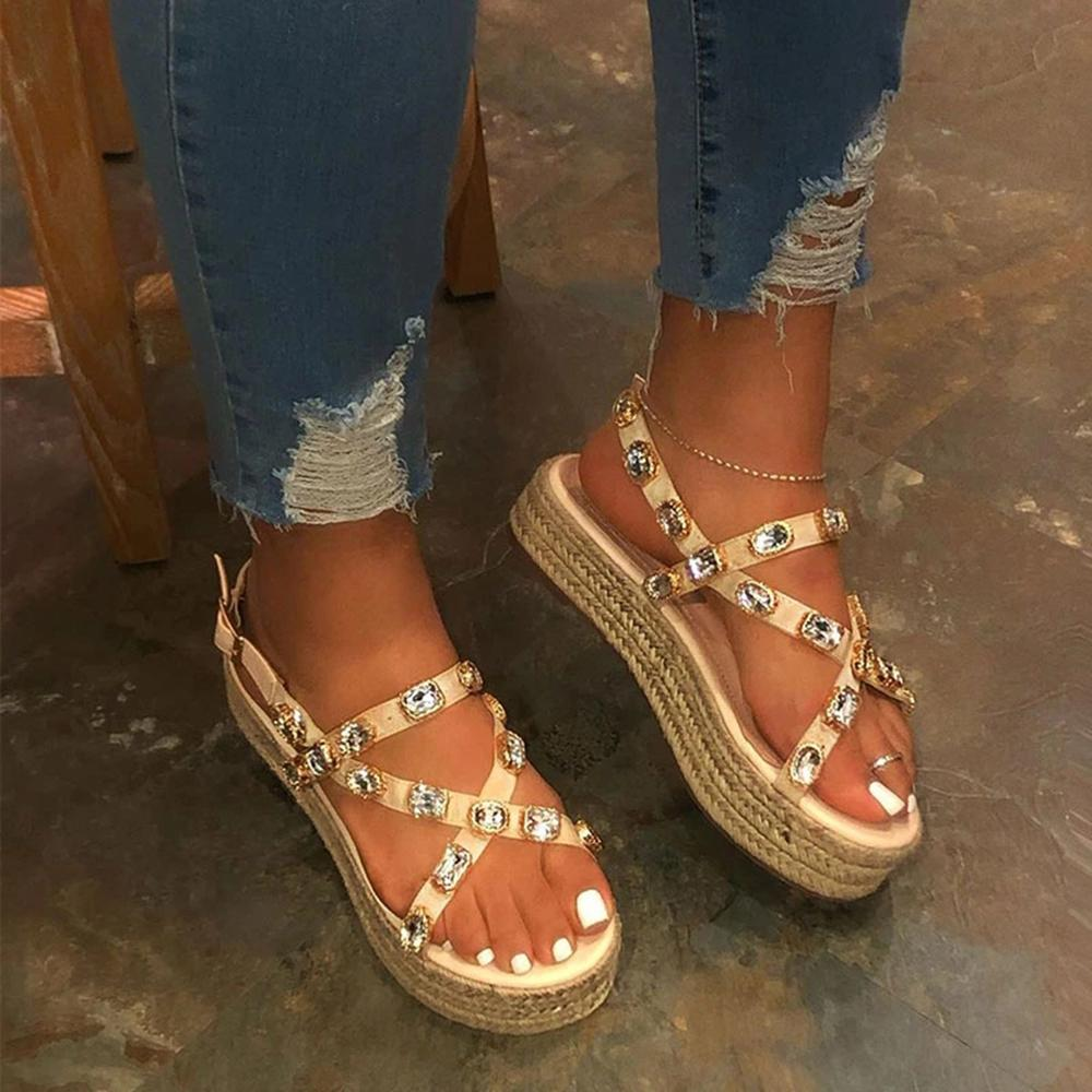 Vieley Womens Rhinestones Adjustable Ankle Buckle Strappy Espadrille Platform Sandals