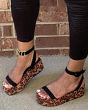 Vieley Snakeskin Printed Sole Wedges Buckled Ankle Strap Slingback Open Toe Platform Sandals