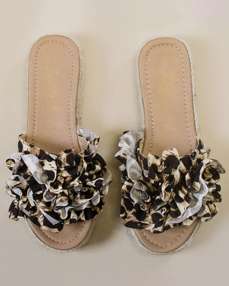 Vieley Ruffled Patterned Espadrille Slides Slip-on Sandals