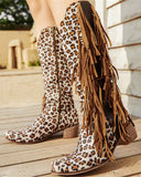 Vieley Womens Round Toe Side Zipper Leopard Printed Boots