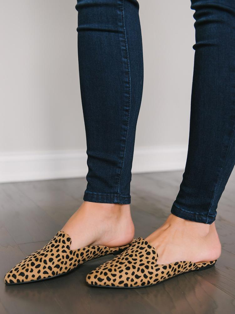 Vieley Womens Leopard Pointed Toe Comfortable Mule Flats