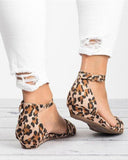 Vieley Leopard Printed Bowknot Peep Toe Adjustable Buckled Strap Sandals