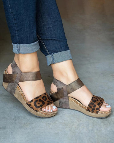 Vieley Platform Wedges Strappy Slingback Open Toe Sandals