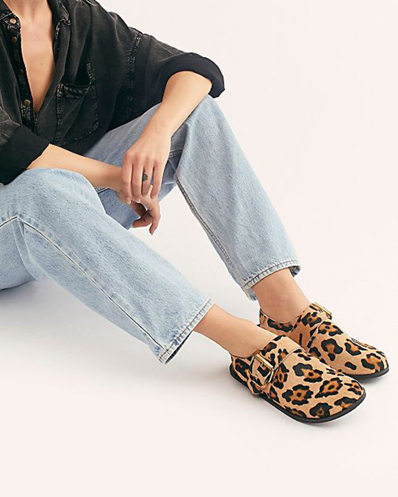 Vieley Womens Leopard Printed Sandals Adjustable Buckled Cork Slingback
