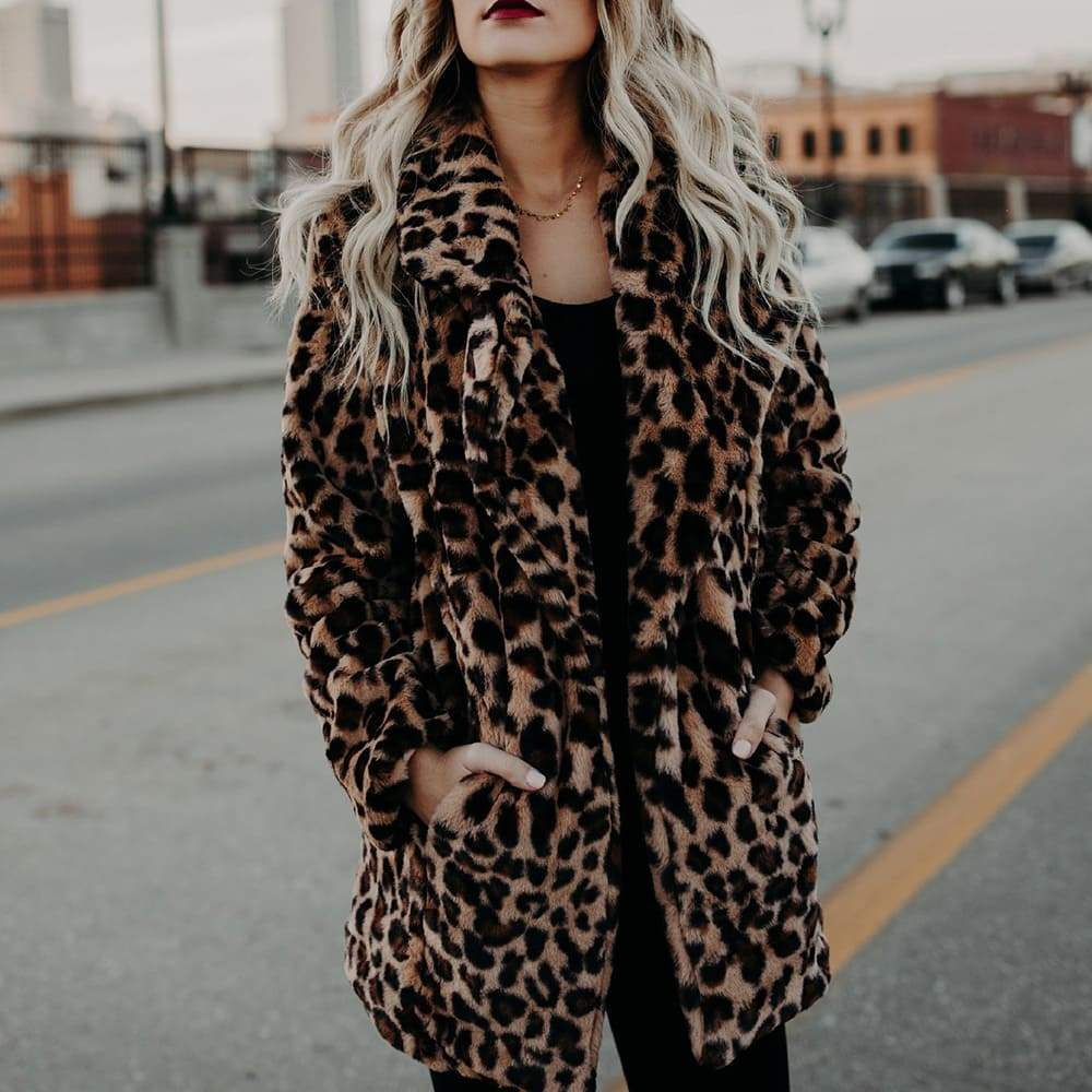Vieley Lapel Leopard Print Faux Fur Coat Jacket