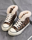 Vieley Womens Leopard Printed Fluffy Sneakers