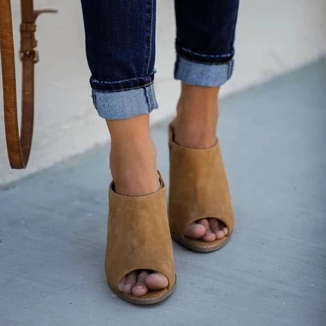 Vieley Wedge Mules Peep Toe Sandals