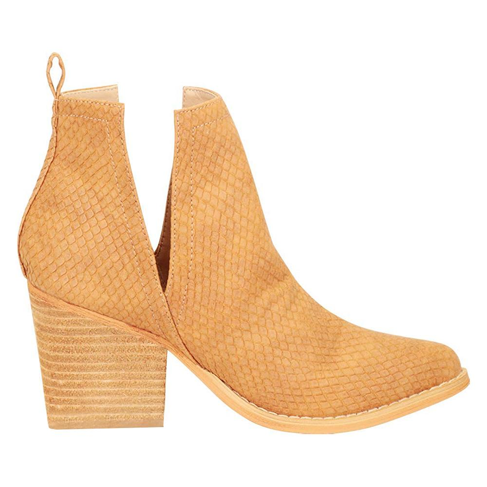 Womens Snake Pointed Toe Ankle Boots Cut Out Slip On Booties - Vieley