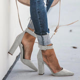 Vieley Pointed Toe High Heels Chunky Block Heel Sandals