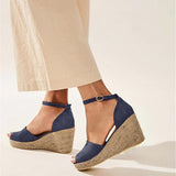 Vieley Peep Toe Ankle Strap Wedges Stacked Heel Cut Out Sandals