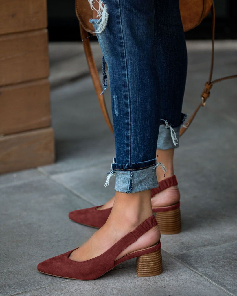 Vieley Elastic Slingback Heel Strap Pointed Toe Heels Wooden Stacked Heel Sandals