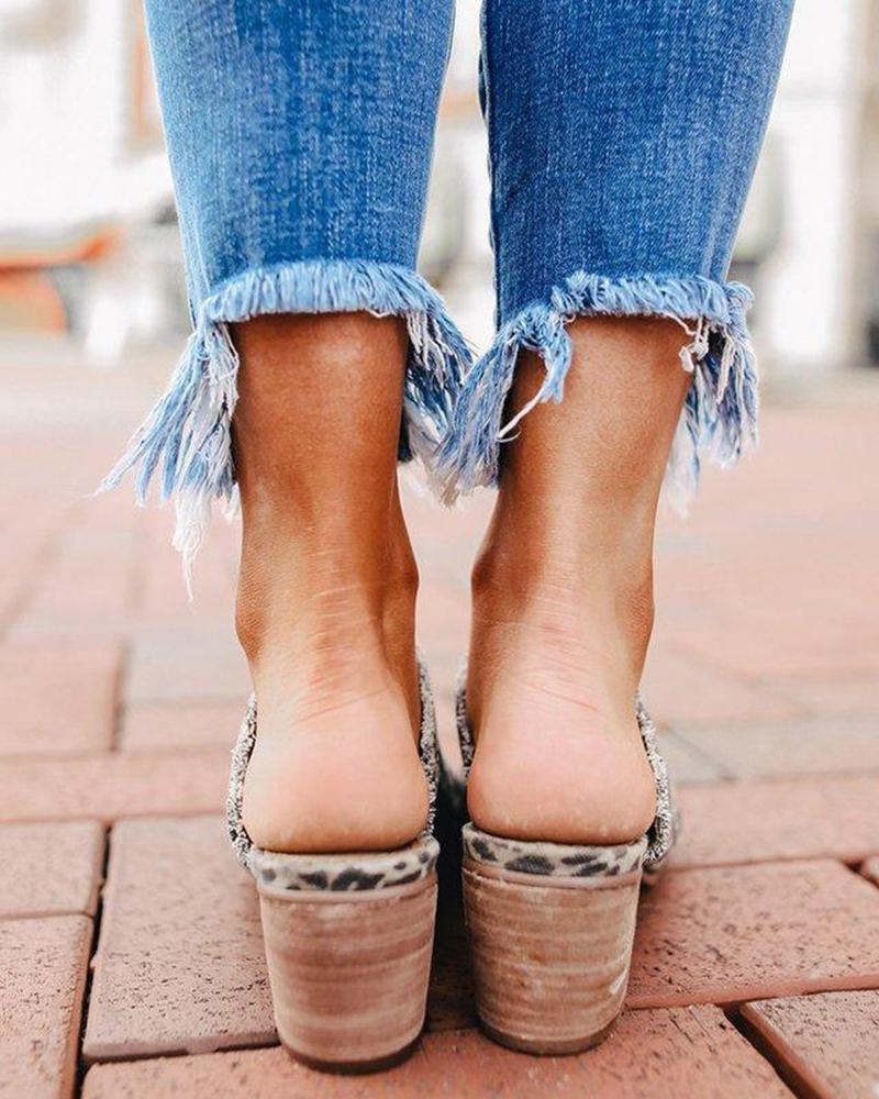 Vieley Frayed Edges Layered Front Peep Toe Mules