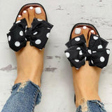 Vieley Womens Polka Dot Bowknot Open Square Toe Slides
