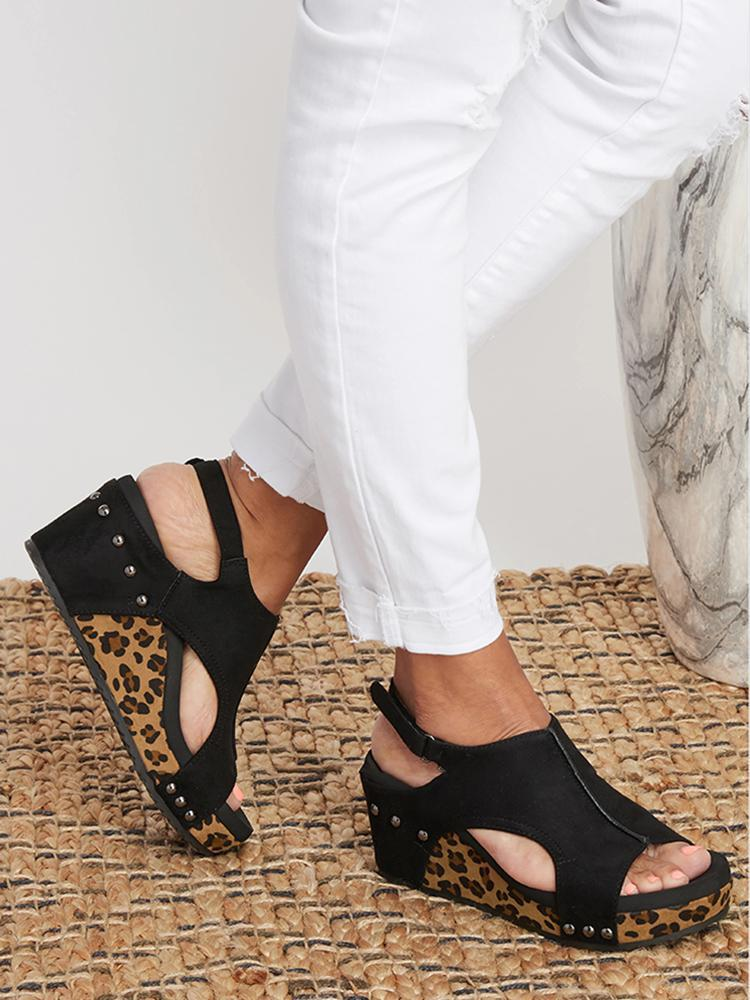 Vieley Rivet Cut-out Open Toe Slingback Wedges Buckled Ankle Strap Sandals