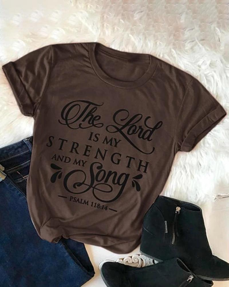 Vieley The Lord Is My Strength And My Song Letter Printed Round Neck Short Sleeves T-shirts