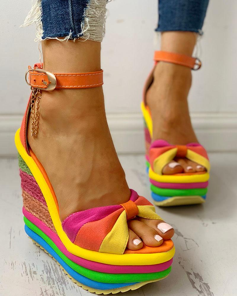Vieley Wedge Heels Ankle Strappy High Heel Rainbow Sandals