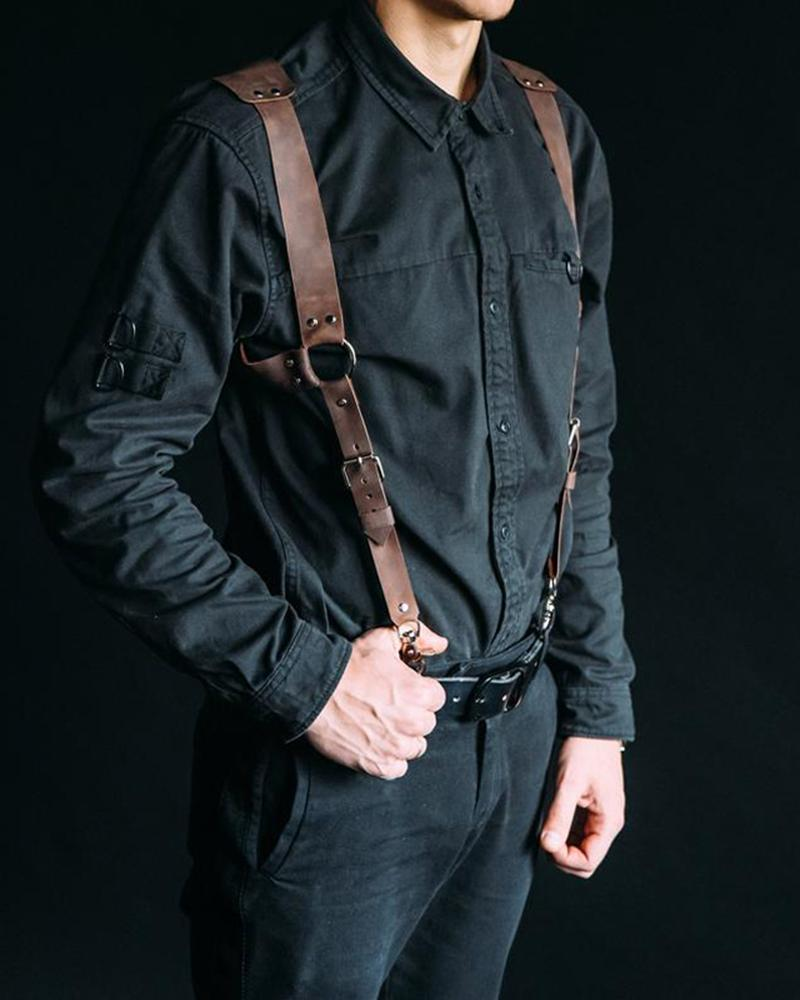 Vieley Men's Soft Split Y Leather Suspenders