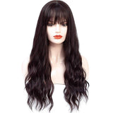 Vieley Long Wavy Wig With Air Bangs Silky Full Heat Resistant Synthetic Wig for Women