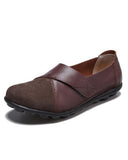 Vieley Velcro Cross Strap Solid Color Slip-on Leather Loafers