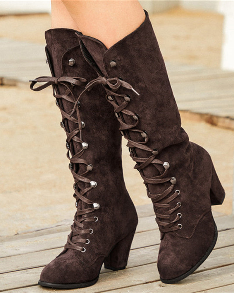 Vieley Womens Round Toe Chunky Heel Lace Up Mid-calf Boots