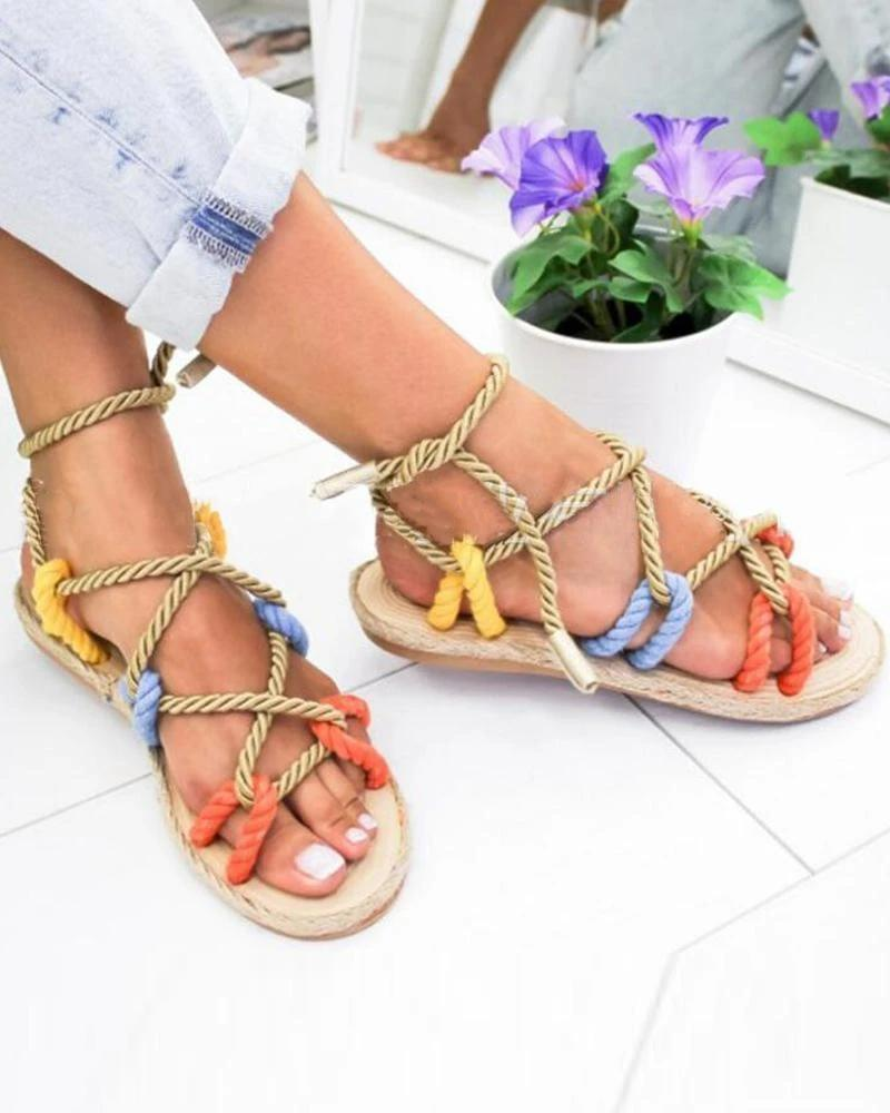 Vieley Womens Open Toe Strappy Lace Up Rope Flat Sandals