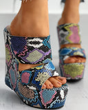 Vieley Wedge Color-Block High-Heeled Sandals
