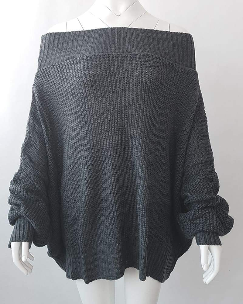 Vieley Women Off Shoulder Sweater Loose Plus Size Sweaters