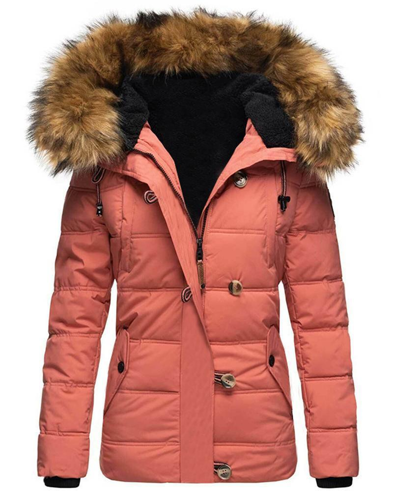 Vieley Pure Color Hooded Fur Collar Plus Fleece Slim-fit Coat