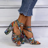 Vieley Snakeskin Ankle Strap High Heels Criss Cross Pumps