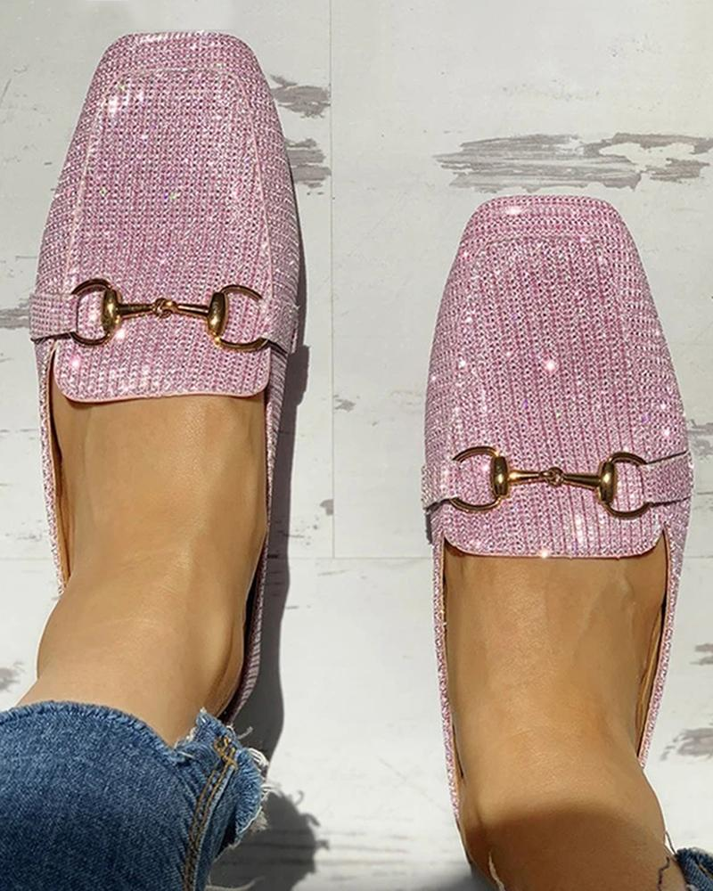 Vieley Glitter Square Toe Solid Color Knitting Slip-on Loafers