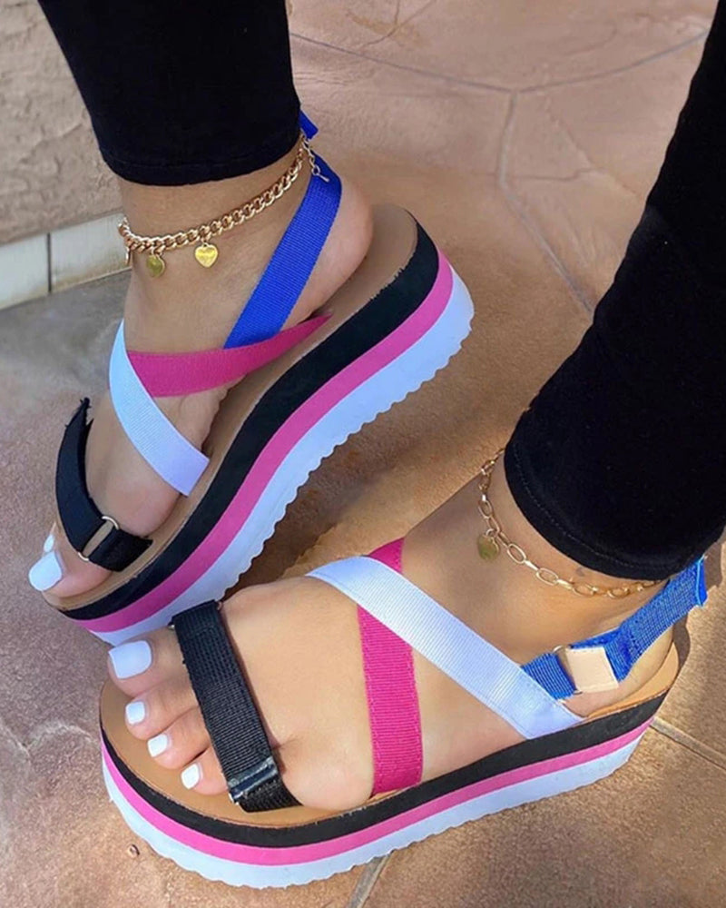Vieley Velcro Ankle Strap Platform Open Toe Casual Sandals