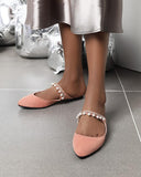 Vieley Point Closed Toe Pearl Rhinestone Emblished Mules Flat Strappy Slides