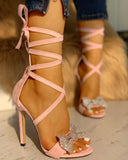 Vieley Women High Heel Party Lace Up Butterfly-knot Sandals
