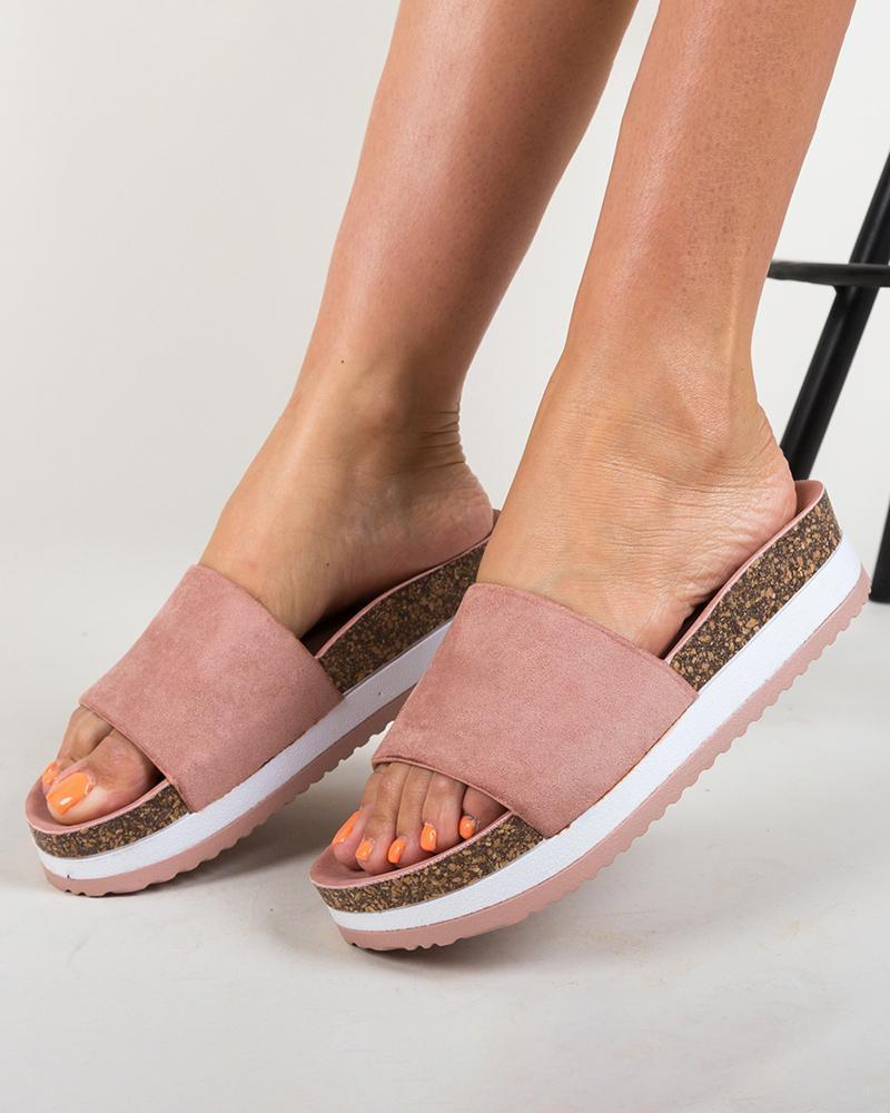 Vieley Women's One Strap Slip-on Cork Slide Sandals