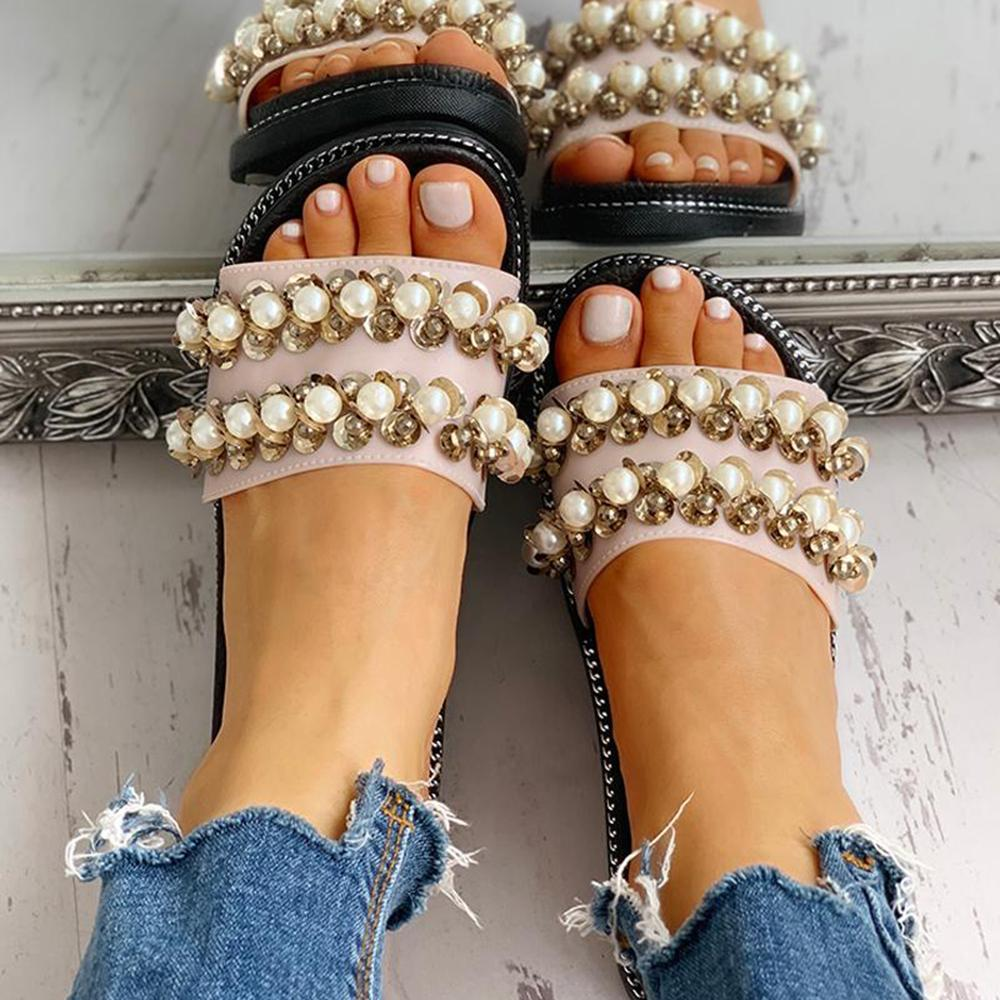 Vieley Womens Pearl Embellish Open Toe Slip-On Sandals