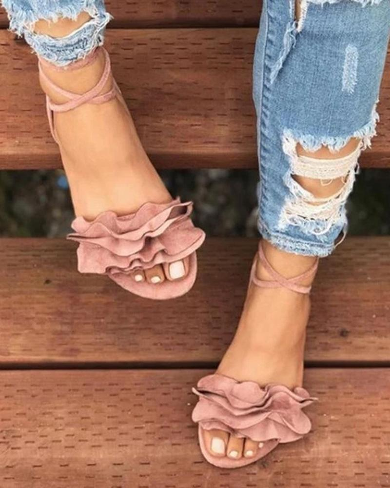 Vieley Ruffles Lace-up Gladiator Solid Color Point Open Toe Slingback Sandals