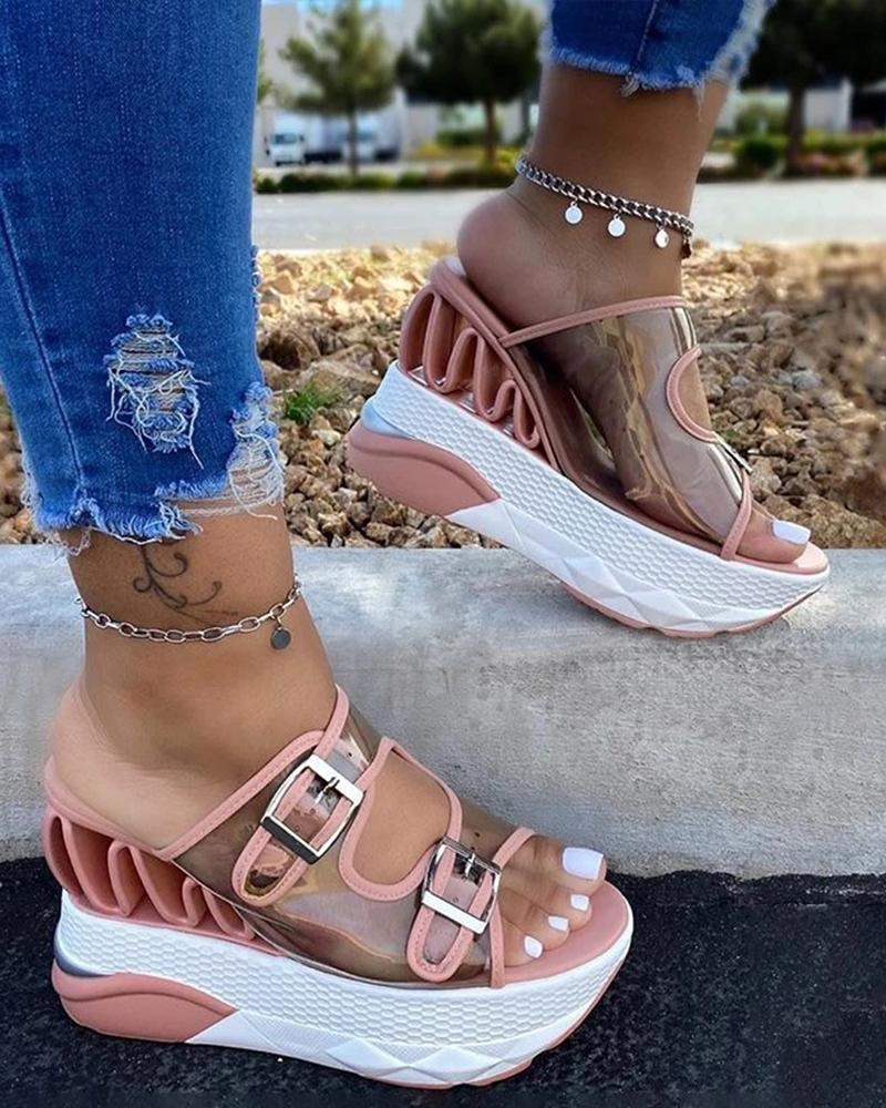 Vieley Transparent Buckled Straps Blush Wedge Platfrom Sandals