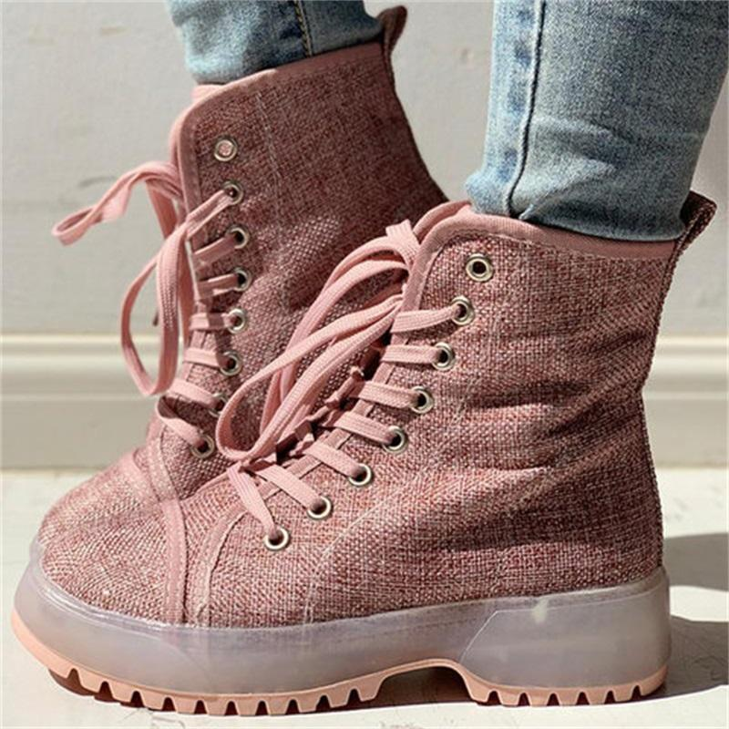 Vieley Lace-up Solid Color Stylish Ankle Boots