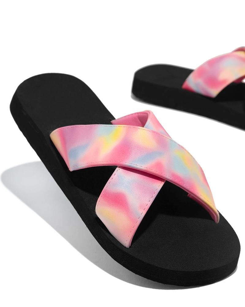 Vieley Criss-cross Supportable Flat Sandals Casual Slides